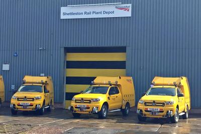 Network Rail / Aquarius Ford Rangers at Shettleston Rail Plant Depot - Network Rail  by NR Shettleston / via JG