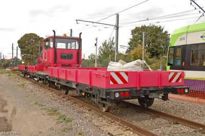 Photo of 059 with flat trolleys at Croydon Tramlink Therapia Lane Depot
